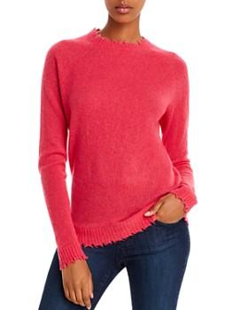 Minnie Rose - Distressed Crewneck Cashmere Sweater