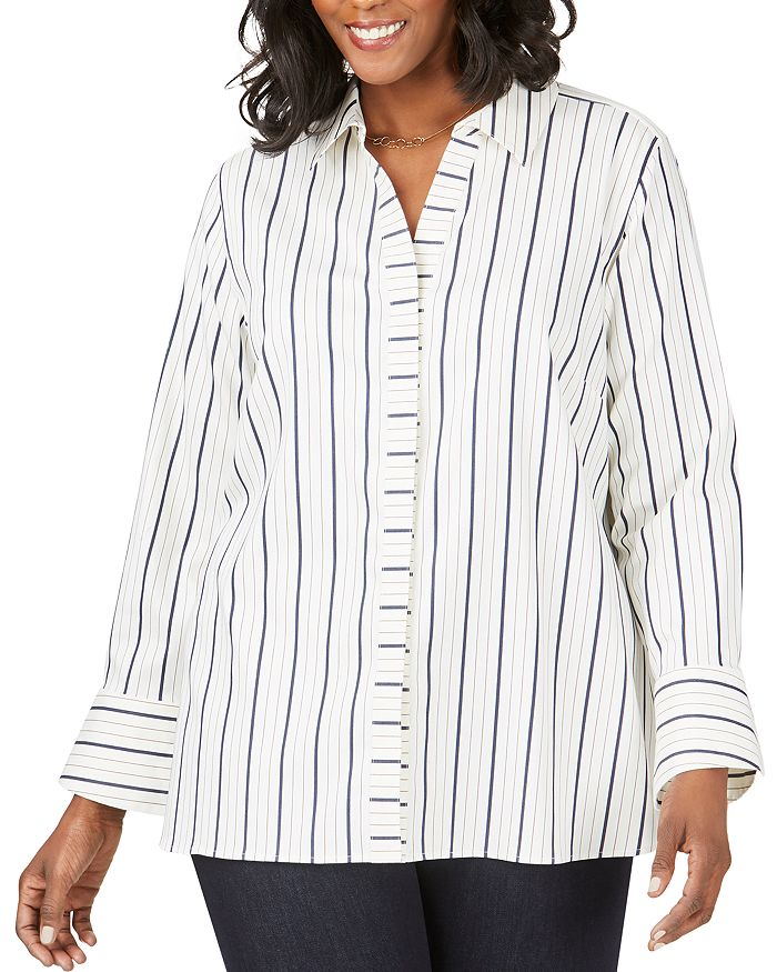 Foxcroft Plus - Kyla Non-Iron Striped Shirt