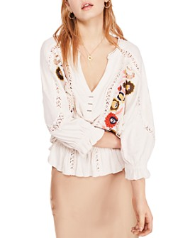 Free People - Serafina Embroidered Blouson Top