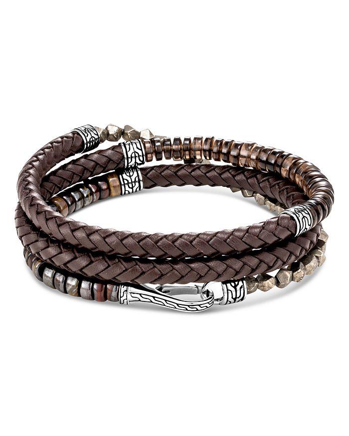 JOHN HARDY - Sterling Silver & Leather Classic Chain Smoky Quartz, Tiger Iron & Pyrite Triple-Wrap Bracelet