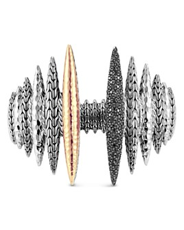 JOHN HARDY - Classic Chain Spear Black Sapphire & Black Spinel Cuff in Sterling Silver & 18K Yellow Gold - 100% Exclusive