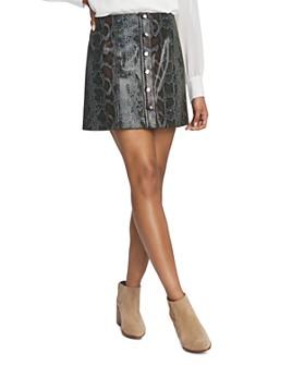 1.STATE - Snake-Embossed Mini Skirt