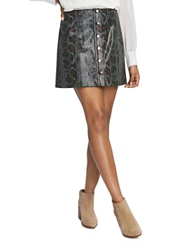 1.STATE - Snake-Embossed Mini Skirt