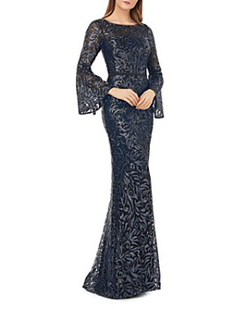 Carmen Marc Valvo Infusion - Sequined Bell-Sleeve Gown