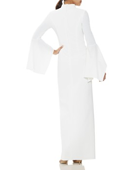 HALSTON - Crepe Flutter-Sleeve Column Gown