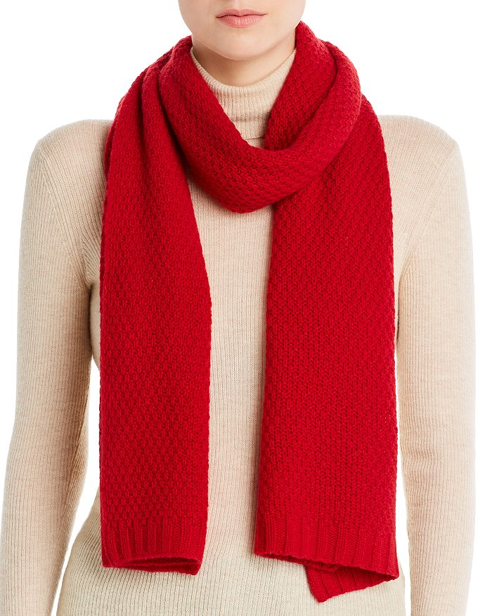 C by Bloomingdale's - Waffle-Knit Cashmere Scarf - 100% Exclusive