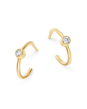 Zoë Chicco - 14K Yellow Gold Diamond Huggie Hoop Earrings