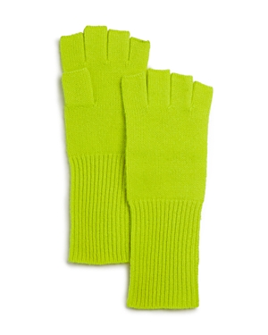 Aqua Cashmere Fingerless Cashmere Gloves - 100% Exclusive (62% Off) Comparable Value $78 In Highlighter Yellow