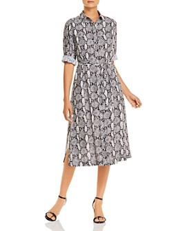 T Tahari - Printed Maxi Shirt Dress