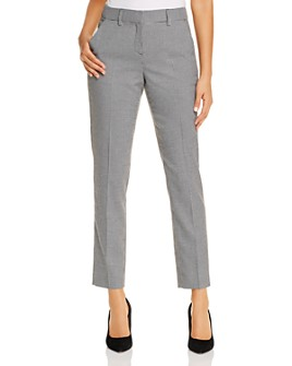T Tahari - Micro-Herringbone Straight Ankle Pants