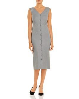T Tahari - Gingham Button-Front Midi Dress