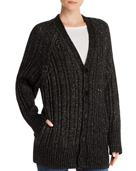 Equipment - Jeannane Metallic Ribbed Cardigan