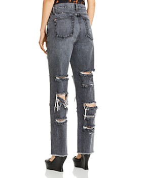 Alice and Olivia - Genevive Extreme Distressed Girlfriend Jeans in Past Midnight