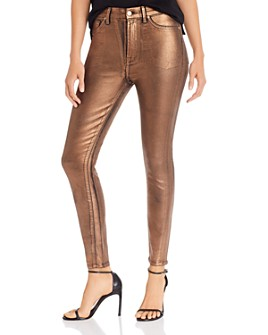 7 For All Mankind - High Rise Skinny Jeans in Penny Metallic Foil