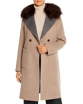Maximilian Furs - Fox Fur-Trim Color-Blocked Wool Coat - 100% Exclusive