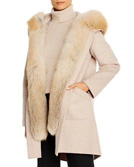 Maximilian Furs - Fox Fur Tuxedo Trim Wool Coat  - 100% Exclusive