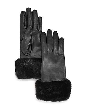 Faux Fur Trim Leather Tech Gloves