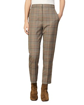 Sandro - Stainy Plaid Tapered Ankle-Length Pants