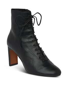 Whistles - Women's Dahlia Lace-Up Stacked Heel Booties