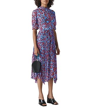 Whistles Jungle Cat Leopard-Print Pleated Dress