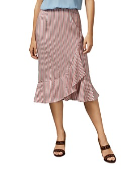 Ted Baker - Coryn Striped Asymmetric Midi Skirt