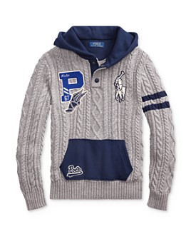 Ralph Lauren - Boys' Big Pony Cable-Knit Hoodie - Big Kid