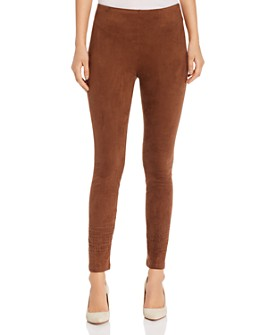 Lyssé - Faux-Suede Laser-Cut Leggings