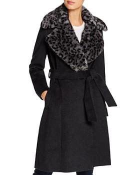 Via Spiga - Leopard-Printed Faux Fur Collar Wool-Blend Coat