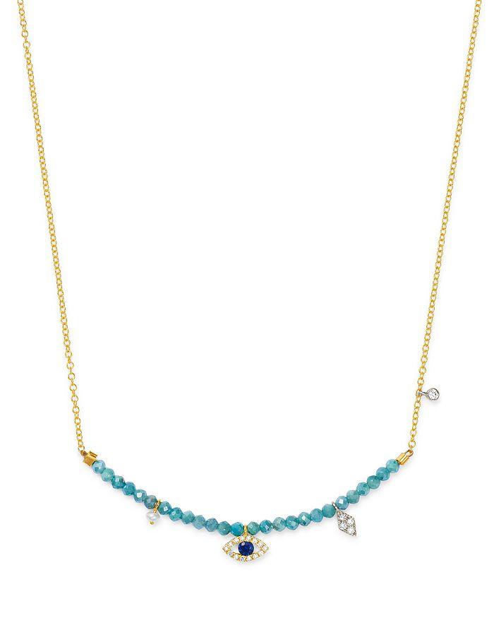 "Meira T - 14K Yellow Gold Beaded Bar Necklace with Quartz & Diamonds, 18"""