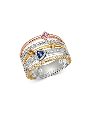 Bloomingdale's Gemstone & Diamond Multi-Row Band in 14K Rose, Yellow & White Gold - 100% Exclusive