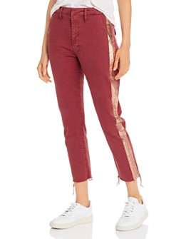 MOTHER - The Shaker Metallic-Stripe Cropped Frayed Pants