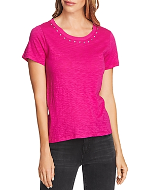 Vince Camuto Tops STUDDED NECK TEE