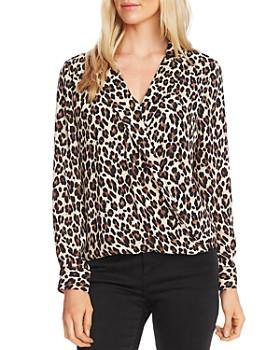 VINCE CAMUTO - Notch-Collar Leopard Print Blouse
