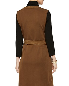 Misook - Faux-Suede Trim Zip-Front Dress