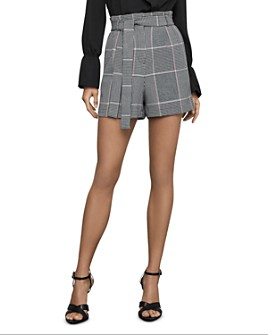 BCBGMAXAZRIA - Glen Plaid Paperbag-Waist Shorts