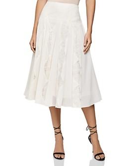 REISS - Ultana Lace-Inset Midi Skirt