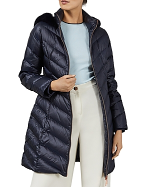 TED BAKER MILLSA FAUX FUR-TRIMMED QUILTED DOWN COAT,WMO-MILLSA-WC9W
