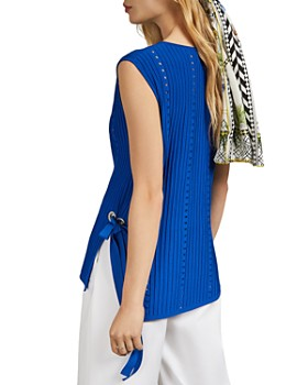 Ted Baker - Jehsii Mixed-Knit Side-Tie Top