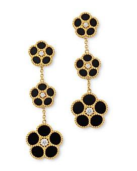 Roberto Coin - 18K Yellow Gold Daisy Diamond & Black Onyx Drop Earrings - 100% Exclusive