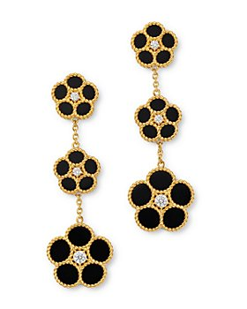 Roberto Coin - 18K Yellow Gold Daisy Diamond & Black Onyx Drop Earrings - 100% Exclusive