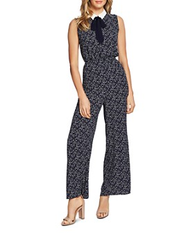 CeCe - Collared Tie-Neck Jumpsuit