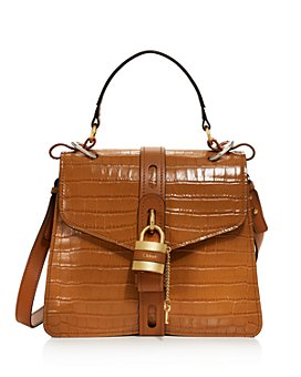 Chloé - Aby Medium Croc-Embossed Leather Satchel