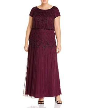 Adrianna Papell Plus - Short Sleeve Beaded Gown