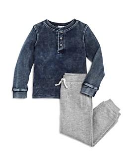Splendid - Boys' Waffle-Knit Henley Tee & Jogger Pants Set - Little Kid