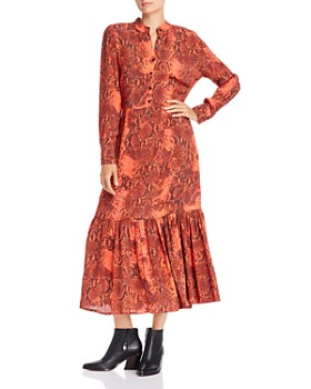 Notes du Nord - Monroe Snakeskin Print Button Dress