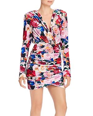 Ronny Kobo Chanria Ruched Floral Velvet Mini Dress