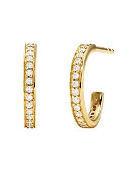 Michael Kors - Pavé Mercer Link Mini Huggie Hoop Earrings in Sterling Silver, 14K Gold-Plated Sterling Silver or 14K Rose Gold-Plated Sterling Silver