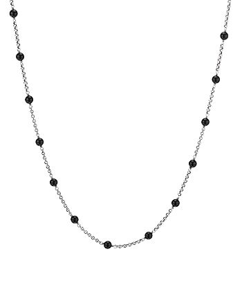 """David Yurman - Sterling Silver Cable Collectibles Bead & Chain Necklace with Black Onyx, 36"""""""