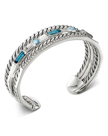 David Yurman - Sterling Silver Stax Narrow Cuff Bracelet with Hampton Blue Topaz & Diamonds