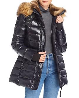 AQUA - Faux Fur-Trim Glossy Puffer Coat - 100% Exclusive